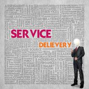 business word cloud for business concept, service delivery - stock illustration