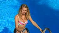 Woman in swimming pool Stock Footage