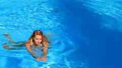 woman in swimming pool - stock footage