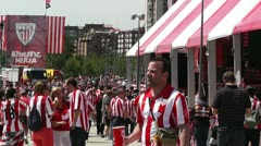 Madrid Casa De Campo before Copa del Rey Final 2012 Athletic Bilbao Fans 16 Stock Footage