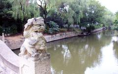 Chinese Lion Statue on a Bridge in China Stock Photos