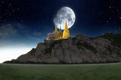 Stock Illustration of thailand travel concept,supermoon over the sky