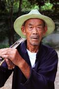 Old Chinese Farmer in Shaoxing, China Stock Photos