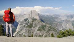 Hiker enjoying Canyon landscape - stock footage