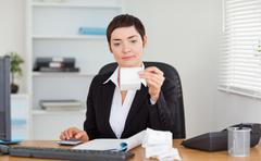 Office worker doing accountancy - stock photo