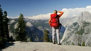 Lone Female Hiking Expedition Stock Footage