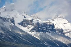 mount rundle with fresh snow - stock photo
