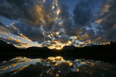 sunset on buller lake 01 - stock photo