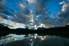 sunset on buller lake 03 - stock photo