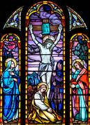stained glass crucifixion scene - stock photo