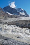athabasca glacier with melt water 02 - stock photo