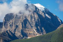 mount temple in banff national park - stock photo