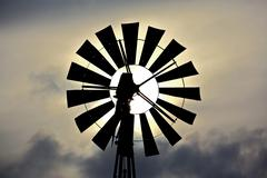windmill silhouette - stock photo