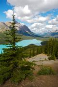 mountain lake in the canadian rockies - stock photo