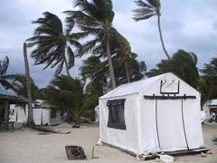 storm with high winds hit island in belize - stock photo