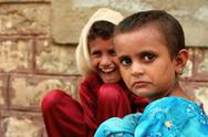 Cute Refugee Girls in Pakistan Stock Photos