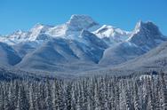 Winter scene of Mount Lougheed 02 Stock Photos