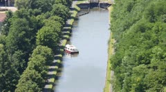 Stock Video Footage of Marne–Rhine canal, Alsace, France,