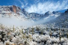 Arizona Tucson Desert Snow Scenic Stock Photos