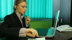 Business woman working desk, manager, talking, handsfree callphone, hands-free Stock Footage
