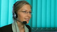 Girl work at Call center, hotline, office, happy, corporate glass Stock Footage
