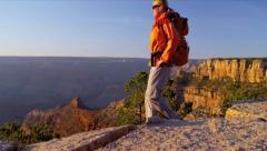 Hiker enjoying Canyon landscape Stock Footage