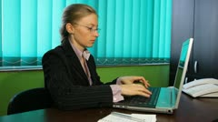 Business woman get deeds document contract young blonde girl at corporate Stock Footage