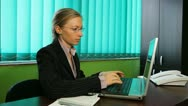 Business woman working at her desk,  agent, busineswoman,taping, office Stock Footage