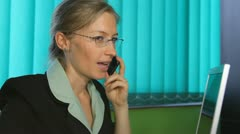 Happy business woman, callphone, corporate, mobilephone Stock Footage