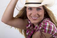 Stock Photo of cowgirl with beautiful smile