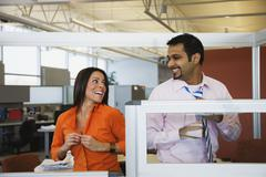 Multi-ethnic business people dressing in office Stock Photos