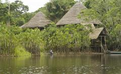 Lodge in the Ecuadorian Amazon.jpg - stock photo