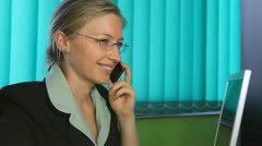 Happy business woman smile at callphone talking phone sale agent at mobilephone Stock Footage