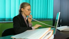 Business woman give deeds corporate documents contract at manager office agent  Stock Footage