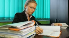 Business woman verify deeds, pan, paperwork, dossier, office, corporate - stock footage