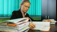 Stock Video Footage of Business woman verify deeds, pan, paperwork, dossier, office, corporate