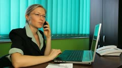 Business woman working glass desk, device, talking,  callphone, mobilephone Stock Footage