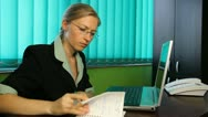 Business woman working at her desk, contract signature signage corporate, office Stock Footage