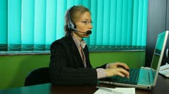 Woman work at Call center, hotline, manager, smile, helpdesk, pan - stock footage
