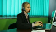 Woman work at Call center, hotline, manager, smile, helpdesk, pan Stock Footage
