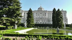 Madrid Jardines De Sabatini and The Palazzo Reale 01 Stock Footage