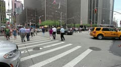 Crowd of people walking crossing street New York 24p intersection time lapse Stock Footage
