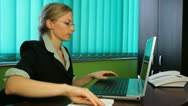 Business woman working at her desk, office, manager consultant succesful agenda Stock Footage