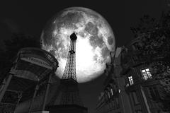 Full Moon in Paris BW.jpg Stock Illustration
