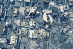 3D Future Metropolis Aerial View - stock illustration