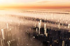 3D Future Metropolis Sunset heavy smog - stock illustration