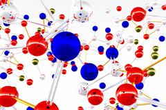 Complex Molecule Atom Structure 02 3D render - stock illustration
