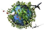 Earth Nature Travel 01 3D render Stock Illustration