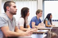 Stock Photo of Studious young adults listening a lecturer