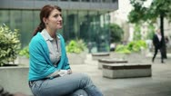 Portrait of young happy woman in the city HD Stock Footage
